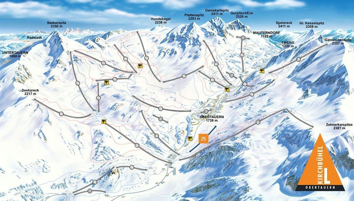 Pistenplan Kirchbühel, Obertauern